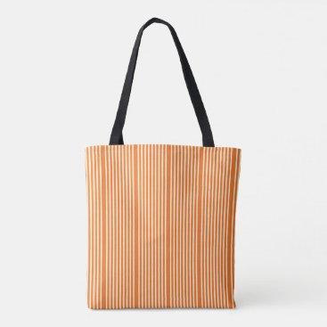 Beach Themed Stripes pattern two tone orange cream tote bag