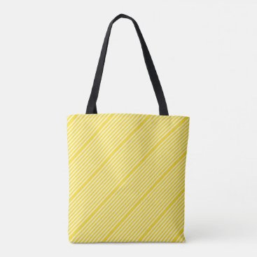 Beach Themed Stripes pattern two tone yellow cream tote bag