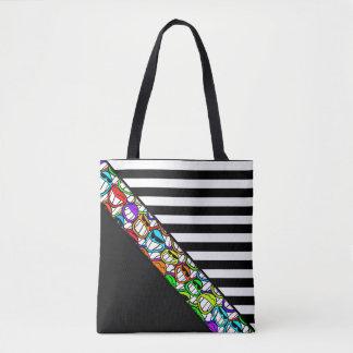 Stripes Pattern wide black + cool smilies Tote Bag