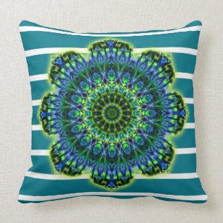 Stripes Pattern wide petrol & Mandala + backg. Throw Pillow