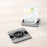 Stripes Pattern with Cool Monogram Coasters
