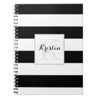 Stripes pattern with monogram - Black and white Spiral Notebook