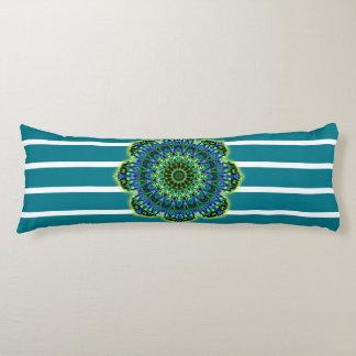 Stripes Pattern wride petrol & Mandala + backg. Body Pillow
