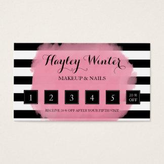 Stripes Pink Black White Makeup Artist Loyalty Business Card