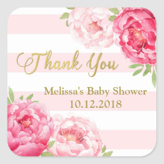Stripes Pink Blush Floral Baby Shower Thank You Square Sticker