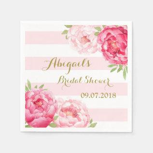 Stripes Pink Watercolor Bridal Shower Napkins at Zazzle
