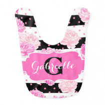 Stripes Pink Watercolor Floral Baby Girl Monogram Bib