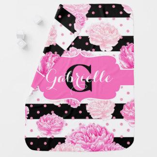 Stripes Pink Watercolor Floral Baby Girl Monogram Stroller Blanket