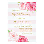 Stripes Pink Watercolor Flowers Bridal Shower Card