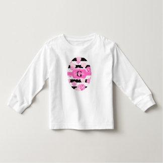 Stripes Pink Watercolor Toddler Girl Name Monogram Toddler T-shirt