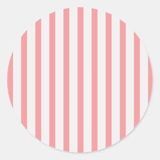 Stripes Pink & White Classic Round Sticker