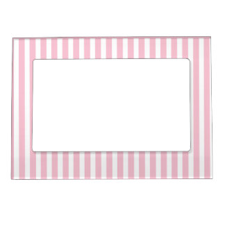 Stripes pink & white cute pattern design magnetic photo frame
