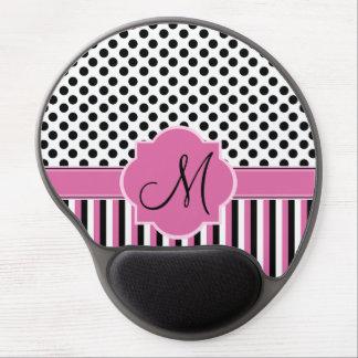 Stripes, polka dots & custom Monogram Gel Mousepad