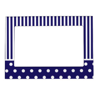 Stripes & polka dots in blue & white cute design magnetic photo frame