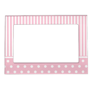 Stripes & polka dots in pink & white cute design magnetic frame