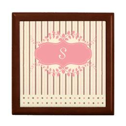 Stripes & Polka Dots Monogram Jewelry Box