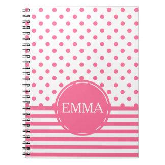 Stripes & Polkadots - Pink Personalized Notebook