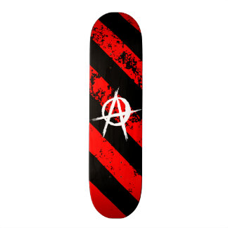 Stripes Punk/Anarchist cracked symbol Skate Deck