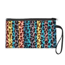 Stripes retro animal fur abstract texture wristlet purse