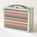 """Stripes - Retro Tones Metal Lunch Box<br><div class=""""desc"""">Modern striped designs using muted retro tones of denim,  grey,  stone,  brown,  terracotta,  cream and pastel blue by Nick Rumbelow.</div>"""