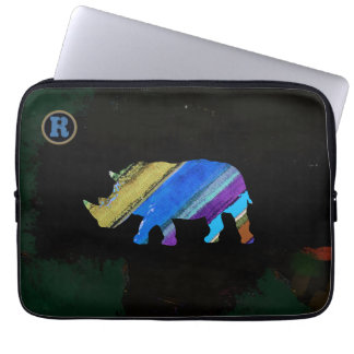 stripes rhino animal art computer sleeves