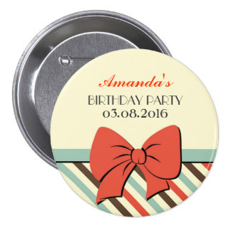 Stripes Ribbon and Bows Happy Birthday Button