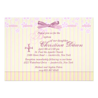 Stripes, Ribbon and Flowers  Invitation