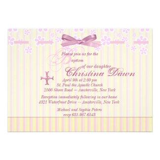Stripes Ribbon and Flowers Invitation