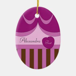 Stripes, Ribbons, Heart Ceramic Ornament
