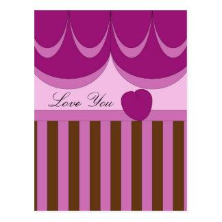 Stripes, Ribbons, Heart Postcard
