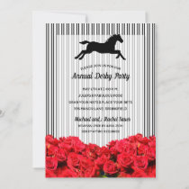 Stripes Roses Derby Horse Racing Party Invitations