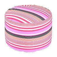 stripes round pouf