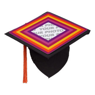 Stripes Square Frame colored 01 + your photo Graduation Cap Topper