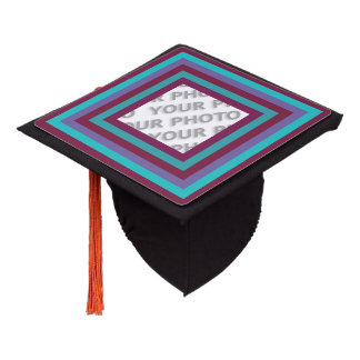 Stripes Square Frame colored 04 + your photo Graduation Cap Topper