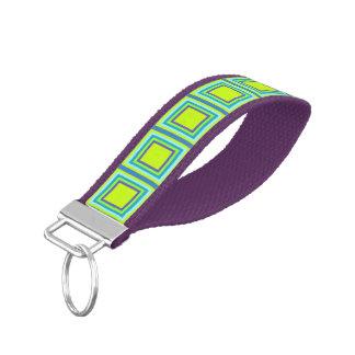 Stripes Square Frame colored 05 + your idea Wrist Keychain