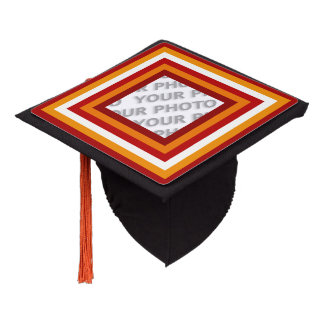 Stripes Square Frame colored 06 + your photo Graduation Cap Topper