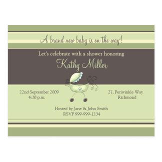 Stripes & Stroller Green • Baby Shower Invitation Postcard