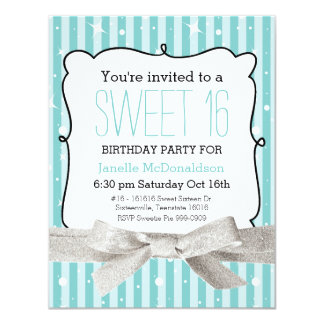 Stripes Sweet 16 Birthday Party Light Aqua Card
