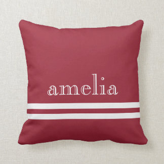 Stripes Traced Font Name White Soft Red Throw Pillows