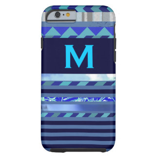 stripes & turquoise blue M custom initial Tough iPhone 6 Case
