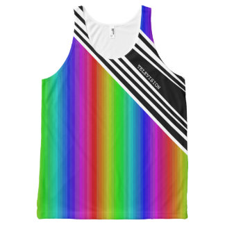 Stripes Vertical Hold Rainbow Frequency TV Bars All-Over Print Tank Top