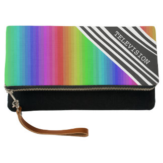 Stripes Vertical Hold Rainbow Frequency TV Bars Clutch