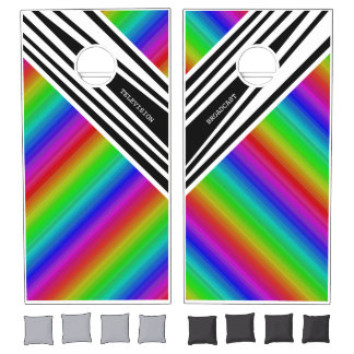 Stripes Vertical Hold Rainbow Frequency TV Bars Cornhole Set
