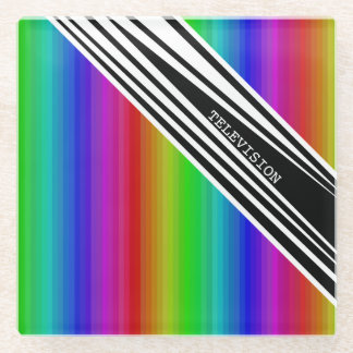 Stripes Vertical Hold Rainbow Frequency TV Bars Glass Coaster