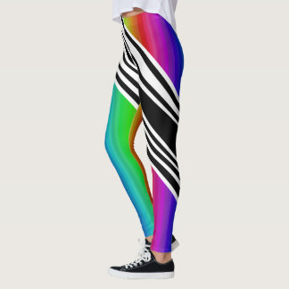 Stripes Vertical Hold Rainbow Frequency TV Bars Leggings