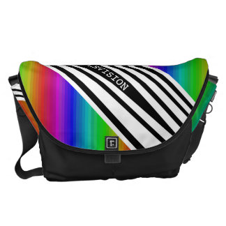 Stripes Vertical Hold Rainbow Frequency TV Bars Messenger Bag