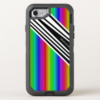 Stripes Vertical Hold Rainbow Frequency TV Bars OtterBox Defender iPhone 8/7 Case