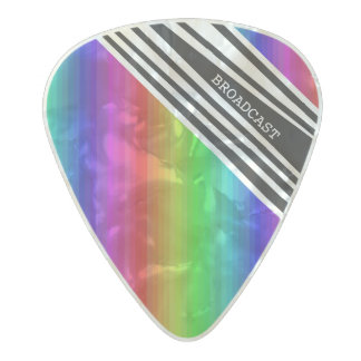 Stripes Vertical Hold Rainbow Frequency TV Bars Pearl Celluloid Guitar Pick