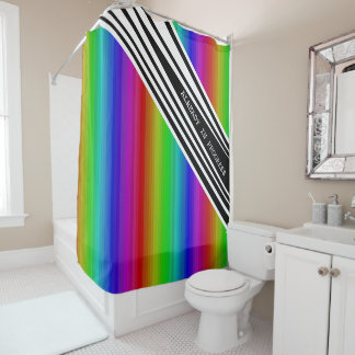 Stripes Vertical Hold Rainbow Frequency TV Bars Shower Curtain