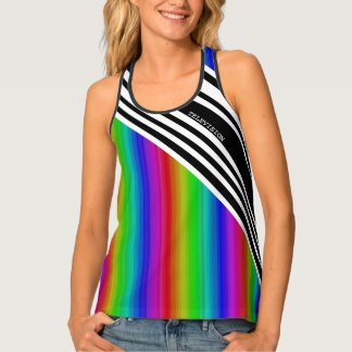 Stripes Vertical Hold Rainbow Frequency TV Bars Tank Top
